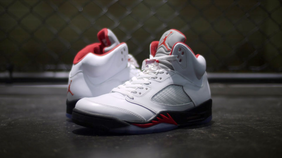 Air Jordan 5 WHITE-FIRE RED-BLACK-Retro 2013