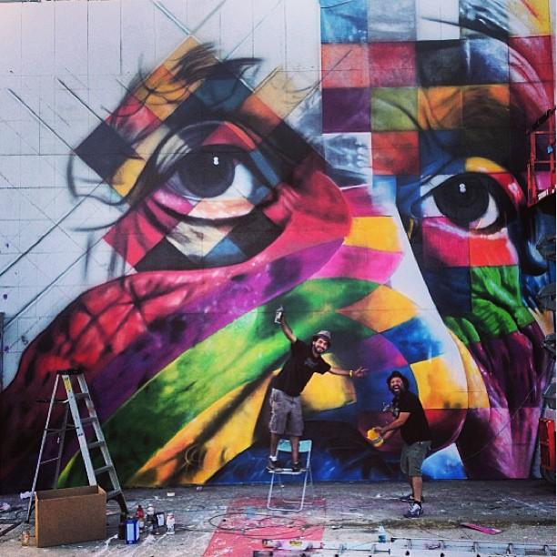 Eduardo Kobra X Mr BrainWash Mur à Los Angeles 2013