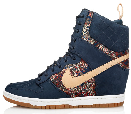 Dunk Super Sky Hi wedge trainers from the Nike X Liberty collection blue
