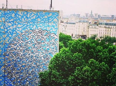Fresque mural Street Art Paris 13 - El seed