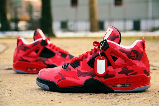 Custom Air Jordan 4 Red Urban Camo - Ecentrik Artistry