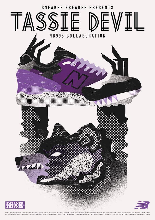 Poster Tassie Devil New Balance 998 X Sneaker Freaker