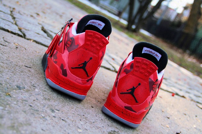 Custom Air Jordan 4 Red Camo