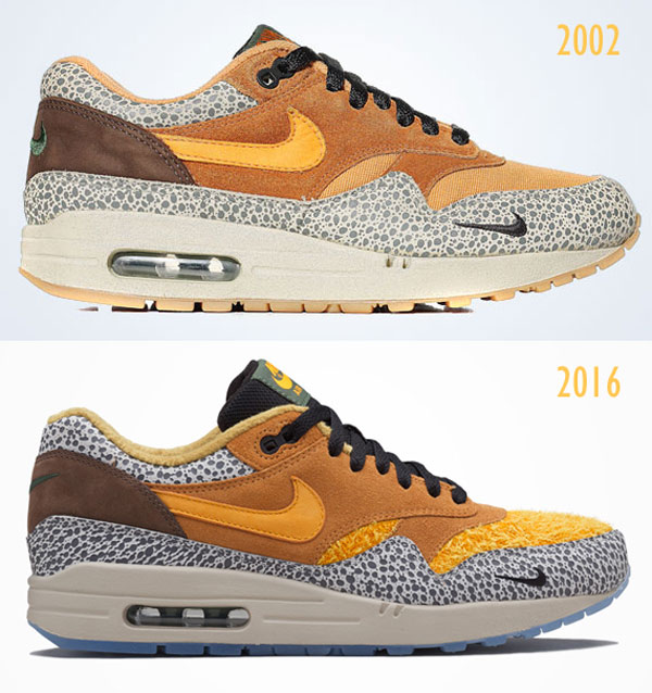 Comparaison de la version 2002 vs 2016 de la Nike Air Max 1 Atmos Safari