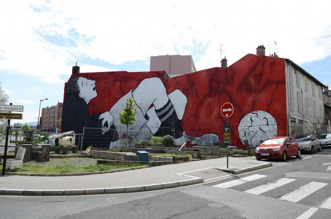 Ella et Pitr Mur Street-Art Saint-Etienne