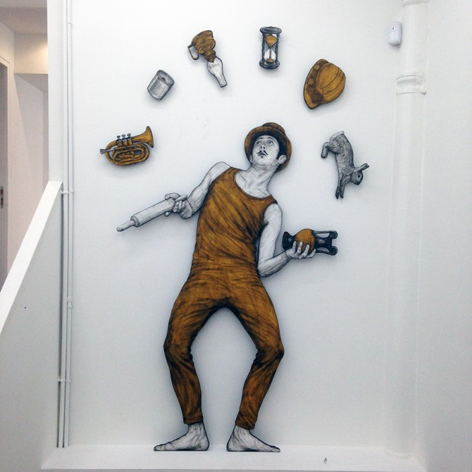 Levalet Exposition Everyday Life Circus à la Galerie Openspace