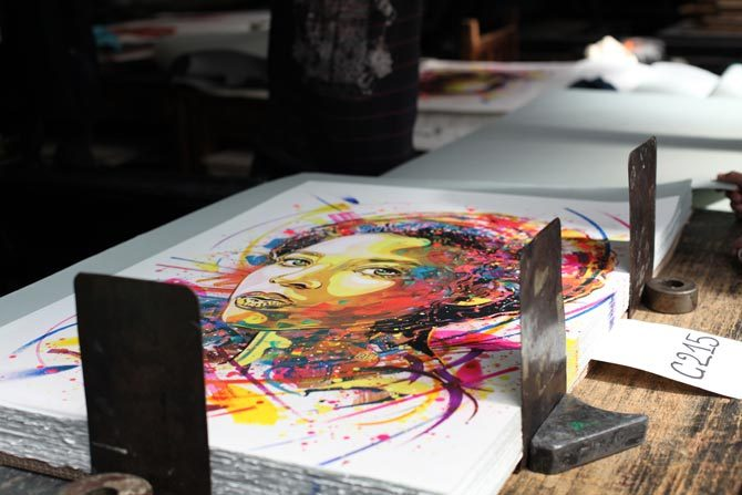 Lithographie du pochoiriste et street-artiste C215