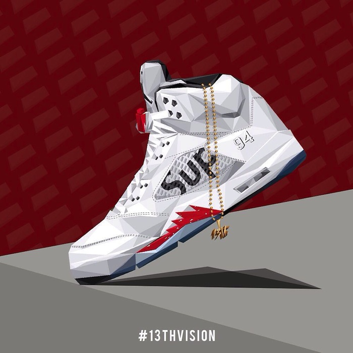 Illustration Sneakers Air Jordan V Supreme par 13th Vision